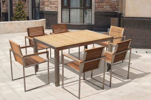 Top quality dining table set stainless steel teak garden furniture