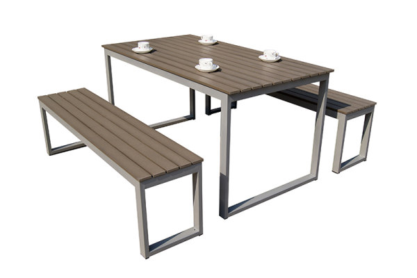 Aluminum frame with polywood outdoor bench table and chair